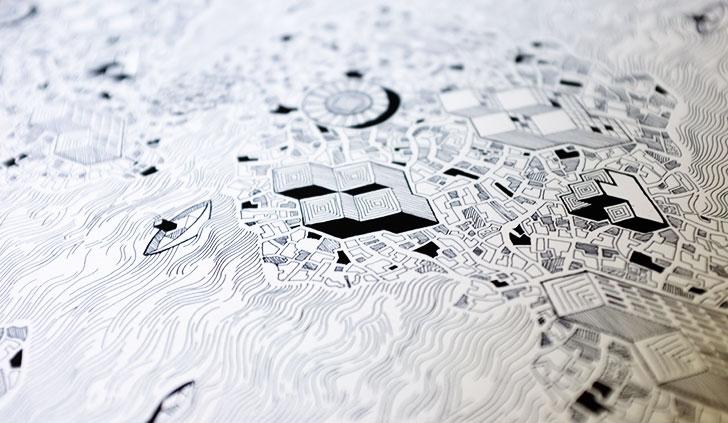 Public Marking - Cartographic Repeat Surface Textile Design