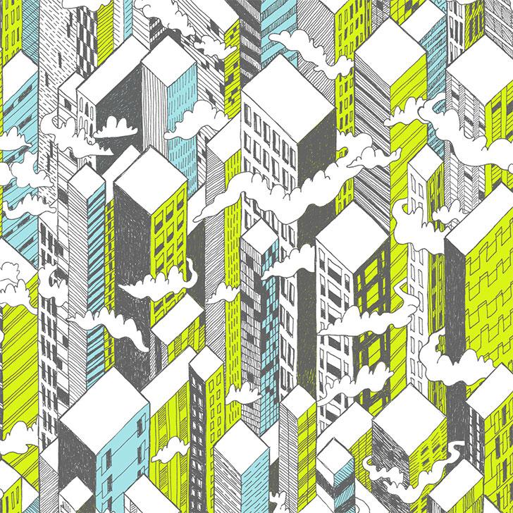 Public Marking City Repeat Surface Textile Design - Detail