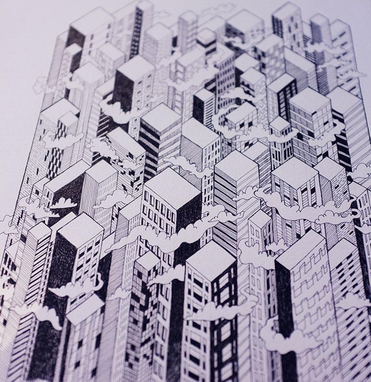 Public Marking City Repeat Surface Textile Design Sketch