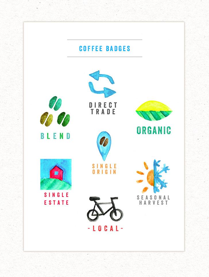Public Marking Lanna Coffee Website Badge Illustrations