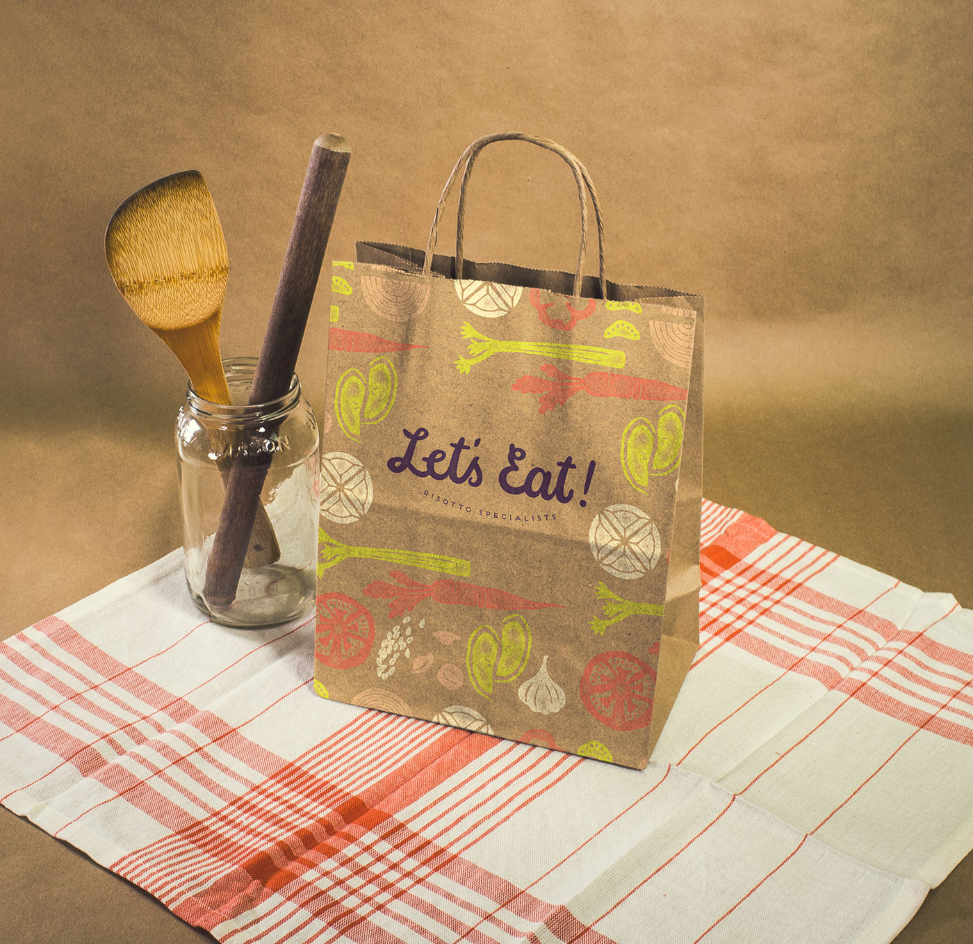 Public Marking Let's Eat Takeaway Bag