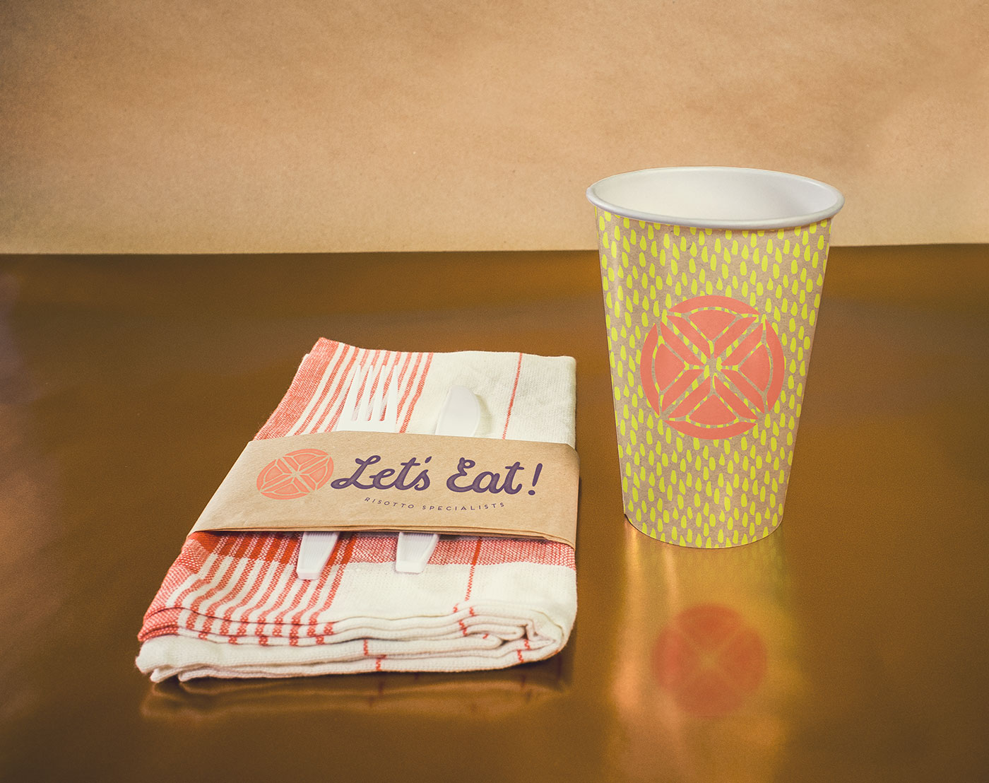 Public Marking Let's Eat Takeaway Napkin and Paper Cup