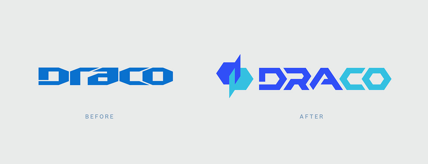 Public Marking Draco Logo Before After